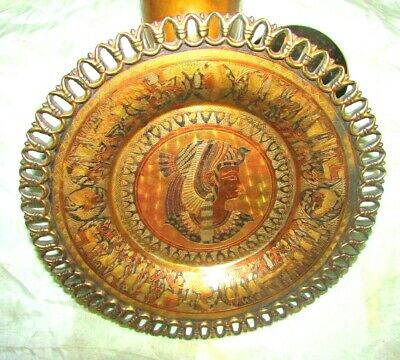 Vintage copper Dish Queen Cleopatra Egyptian Pharaoh brass Unique & interesting