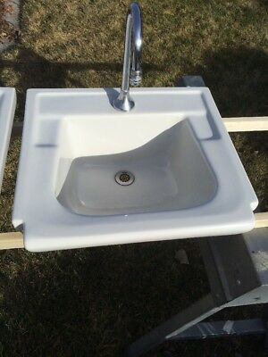 Vtg Mid Century Cast Iron White Porcelain Drop In Sink Basin Standard
