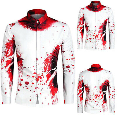 Mens Halloween Scary Horror Collar T-Shirt Long Sleeve Wound Bullet Blood Tops