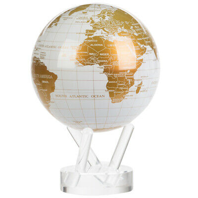 NEW Mova Small White and Gold Spinning Globe