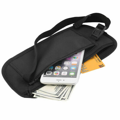 Travel Pouch Zippered Waist Security Money Waist Belt Bag Cruise Pouch Black
