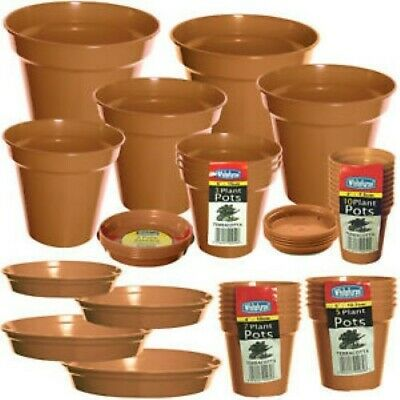 "20 x 5"" to 6"" Whitefurze Terracotta Colour Plastic Saucers (4 x pack 5)"