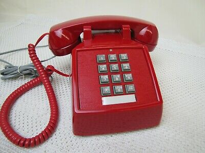 Vintage RED Touch Tone TELEPHONE Push Button Desk Phone Cortelco made in USA