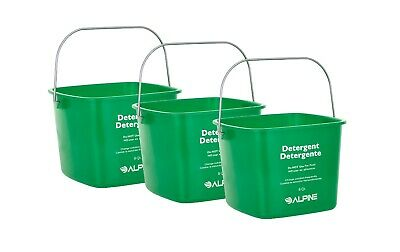 Alpine Industries Green 8 Quart Plastic Cleaning Pail Water Mop Bucket 3 Pack