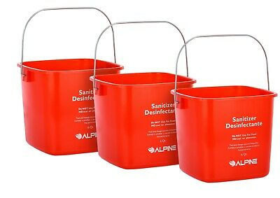 Alpine Industries Red 6 Quart Plastic Cleaning Pail Water Mop Bucket 3 Pack
