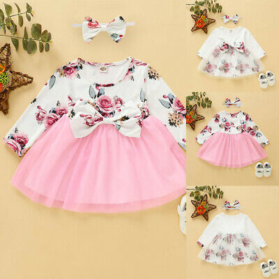 Newborn Infant Baby Girl Floral Dress Tutu Skirt + Headband Outfits Clothes Sets