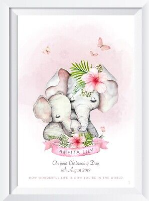 Personalised baby girl elephant print picture gift christening name walldecor