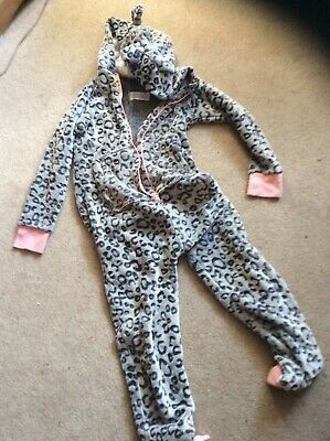 Girls grey and pink leopard print all in one sleep suit  age 10 yrs from next