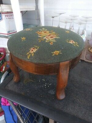 Small Circa 1920 Needlepoint Footstool