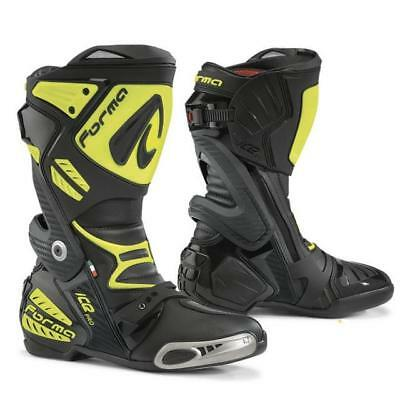 Boots Motorcycle Racing with Guards Forma Ice pro Black/Yellow Fluo