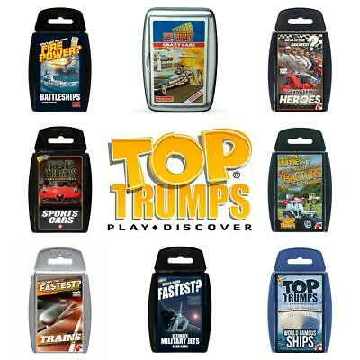 Top Trumps Vehicles Card Games Cars Jets Trains Tractors Ships Brand New Sealed