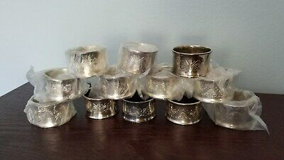 """12 Silver Plate Napkin Rings Etched with Hearts  No Mark 2"""" Wide"""