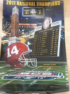 2011 National Champions Poster LSU Vs. Alabama Football Man Cave Bar Decor