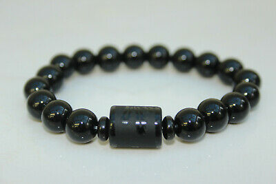"Ladies Gents BLACK OBSIDIAN ""Dragon Glass"" PHOENIX Bead Reiki Stretch BRACELET"