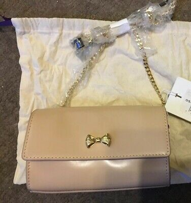 Bnwt Genuine Ted Baker Aelia Small Crossbody Or Clutch Camel Nude Beige Leather