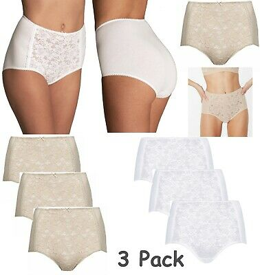 3 PACK M&S FULL Knickers Lace Front Cotton Blend High Rise Briefs Pants Sz 6-28
