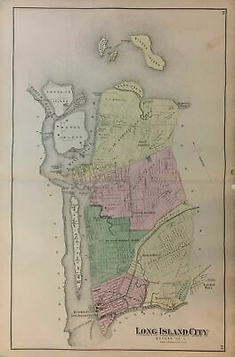 Antique Original Long Island City Map, Frederick Beers, 1873