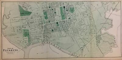 Map of FLUSHING, QUEENS, Frederick BEERS, original antique 1871
