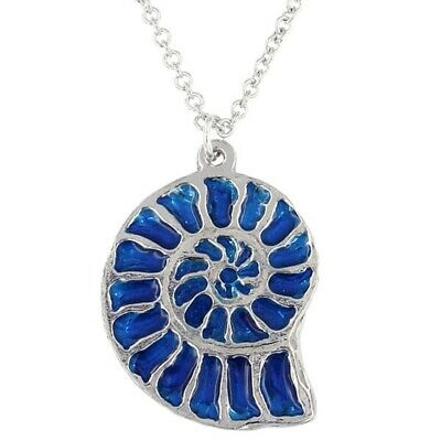 St Justin Pewter Ammonite Pendant Necklace Blue Enamel PN732