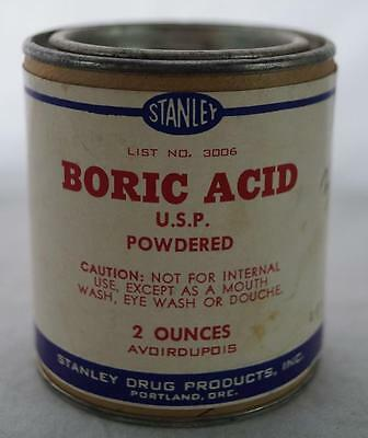 Vintage Stanley Boric Acid Can Advertising