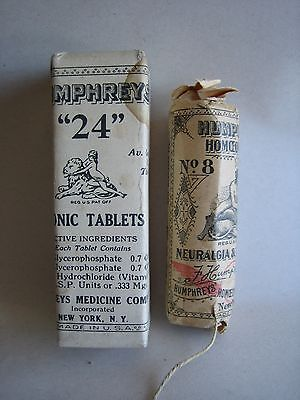 Vtg 2 RARE bottles Humphreys Homeopathic Medicine Lot Sealed
