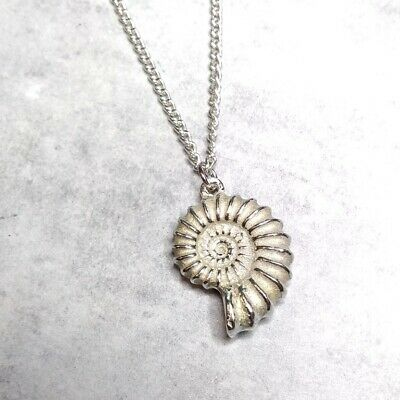 St Justin Pewter Large Ammonite Pendant Necklace in Gift Box UK Made PN769