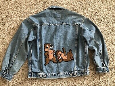Vintage Gap Denim Jean Jacket Size Men M Women L Disney Chip & Dale Patch
