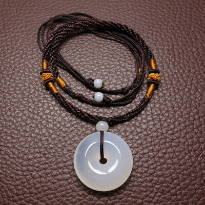 Natural White Agate Chalcedony Jade Pendant Ping'an Circle Amulet 50013