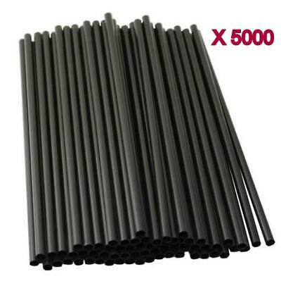 5000pc Black Drinking Straw Plastic Disposable Party Straws Straight Tableware