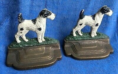 Pair of Antique TERRIER DOG CAST IRON brass/bronze BOOKENDS  by BRADLEY HUBBARD