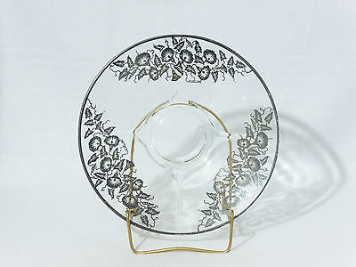 """Glass 10"""" PLATE / TRAY with STERLING OVERLAY - Nice"""