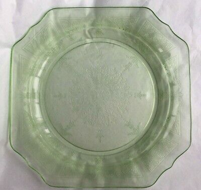 Anchor Hocking Green Depression Elegant Glass Princess Square Plate 8.25 in