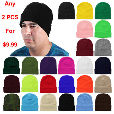 2pcs Set Plain Solid Color Unisex Beanie Ski Hat Knitted Warm Great for Winter