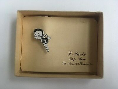 RARE variety! Vintage Japanese BETTY BOOP PIN w BOX 1930s 1950s antique jewelry