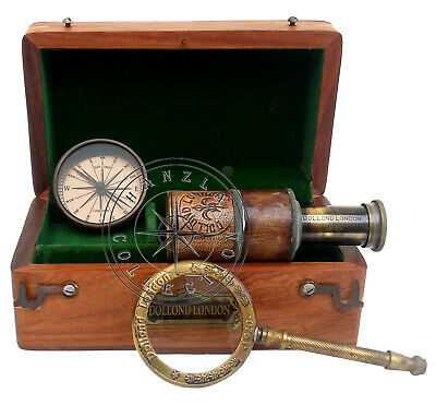 Dollond London Gift Set of 3 Nautical Compass Brass Telescope & Magnifying Glass