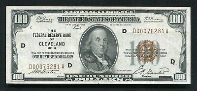 Fr. 1890-D 1929 $100 Frbn Federal Reserve Bank Note Cleveland, Oh Extremely Fine