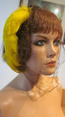 1930,s Dayton Co orig.vint. brown felt veiled hat with yellow feathers .