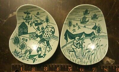2 Ltd Edition Nymolle Art Faience Hoyrup Dish Viking & Ship Denmark Trinket dish