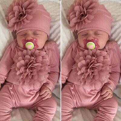 UK Newborn Baby Girl Clothes 3D Floral Romper Jumpsuit Overall Hat Outfits Set