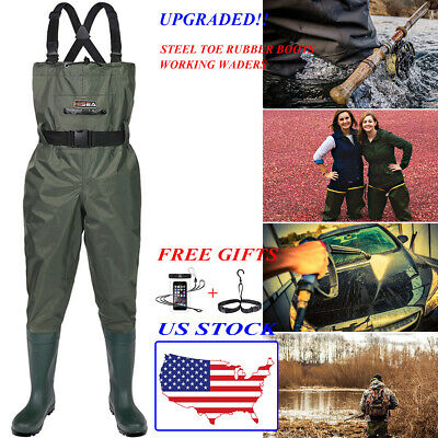 HISEA Steel Toe Working Rubber Boots Chest Waders Nylon PVC 2-PLY Fishing Waders