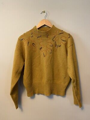 Country Road Vintage Jumper size L mustard pure wool embroidered