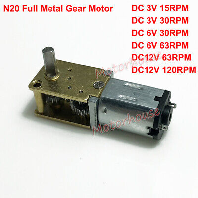 DC 3V 6V 12V Mini Full Metal Gearbox N20 Gear Motor Slow speed Reduction Robot