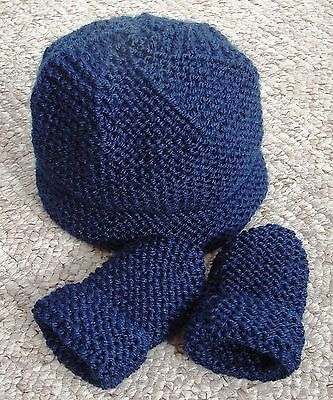Baby Hand Knitted Hat, Mittens, Navy Blue, 0-3 Months, New