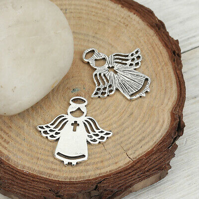 BULK BUY 20 Beautiful Antique Silver Tone Angel with Cross Detail Pendant/Charms