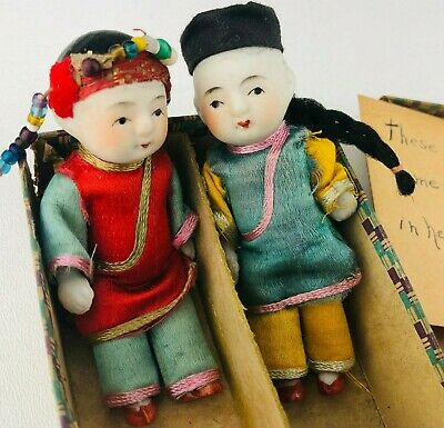 VINTAGE Antique Pair Hand Painted Porcelain Chinese NYC New York Chinatown Dolls