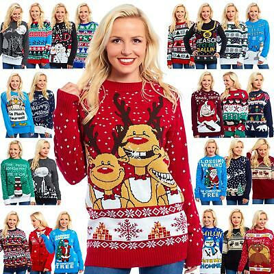 Womens Ladies Girls Xmas Christmas Jumpers Party Sweater Novelty Festive Dress