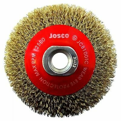 Josco MULTI-THREAD TYRE CORD CRIMPED WIRE BEVEL BRUSH 100mm 12500Rpm *Aust Brand