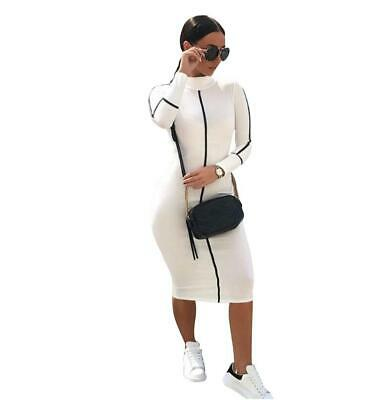 Women Bodycon Long Sleeve Tight High Neck Turtleneck Party Pencil Fashion Dress