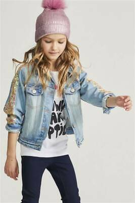 BNWT NEXT Girls Light Blue Denim Jacket With Sequin Sleeves 9-10 Years
