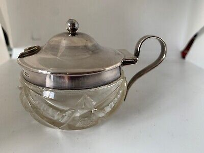 Antique Solid Silver Mounted Cut Glass Mustard Pot London 1921